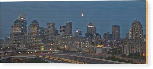 Cincinnati Skyline From Mt. Adams Wood Print