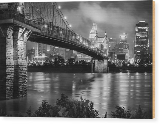 Cincinnati Skyline - John Roebling Bridge And Ohio River Wood Print