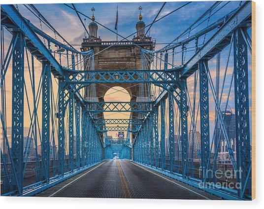 Cincinnati Suspension Bridge Wood Print