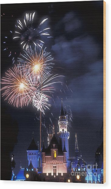Cinderella Castle Fireworks Iconic Fairy-tale Fortress Fantasyland Wood Print