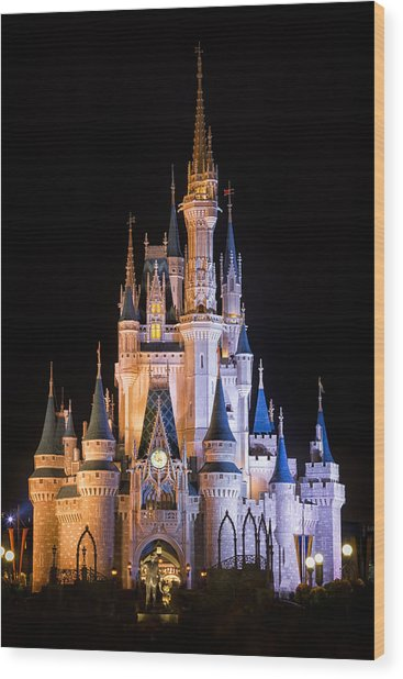 Cinderella's Castle In Magic Kingdom Wood Print