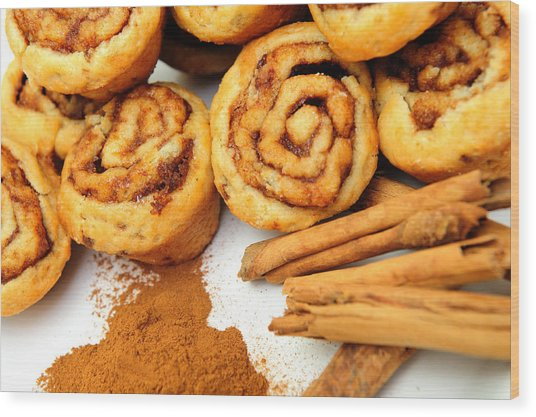 Cinnamon And Rolls Wood Print by Don Bendickson