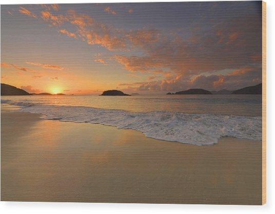 Cinnamon Bay Sunset Reflections Wood Print by Stephen  Vecchiotti