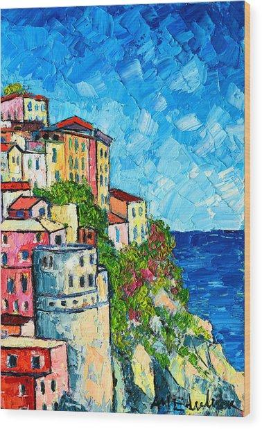 Cinque Terre Italy Manarola Painting Detail 3 Wood Print