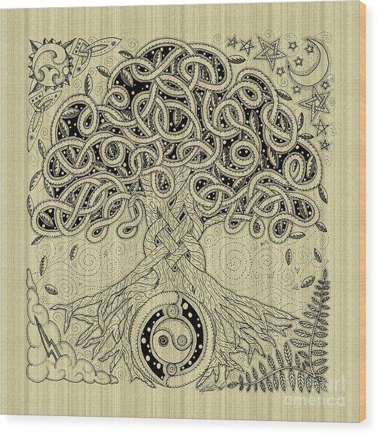 Circle Celtic Tree Of Life Inked Wood Print
