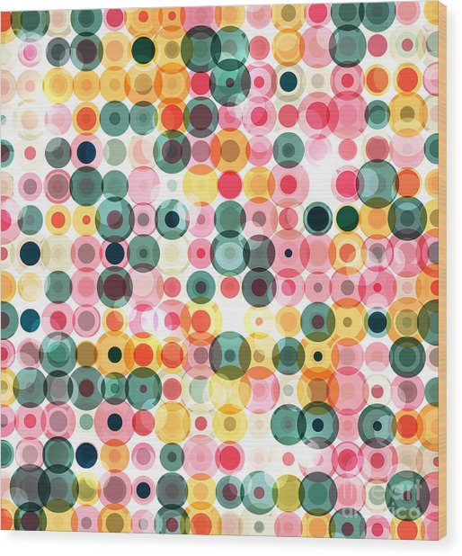 Circles Pattern Retro Background Wood Print by Reuki