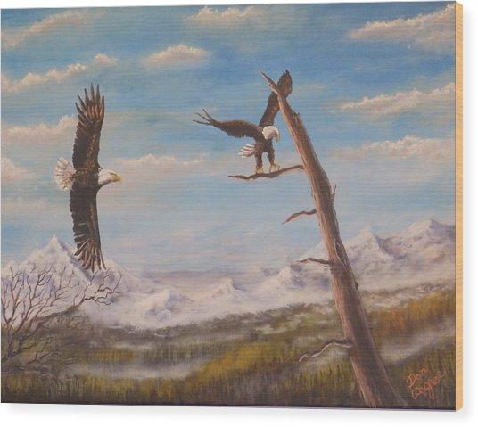 Circling Eagle Wood Print