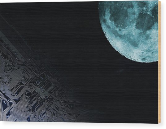 Circuit Board And Moon Wood Print by Christian Lagerek/science Photo Library