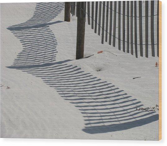Circus Beach Fence Wood Print