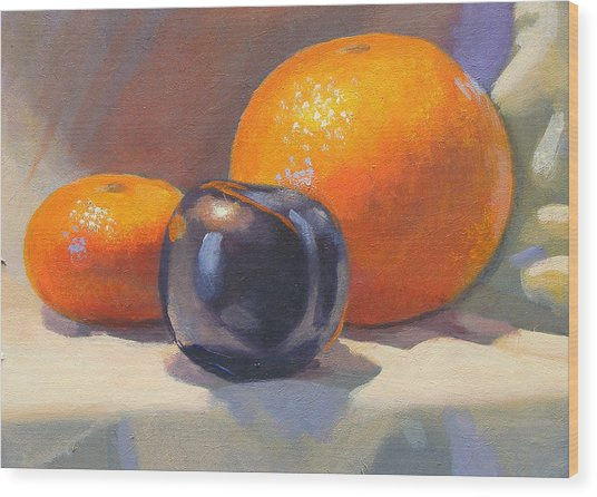 Citrus And Plum Wood Print by Peter Orrock