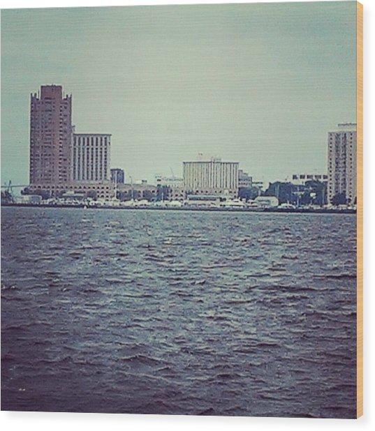 City Across The Sea Wood Print