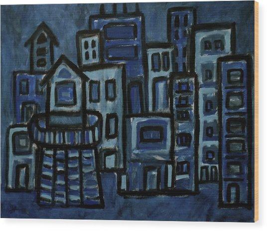 City At Night Wood Print
