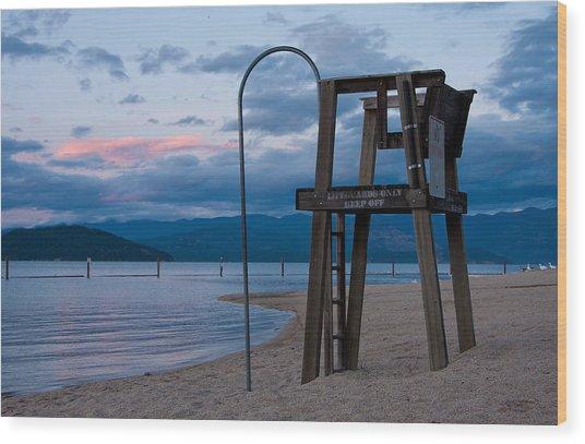 City Beach Life Guard Wood Print by Marie-Dominique Verdier