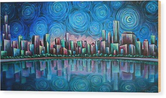 City By Starlight Wood Print