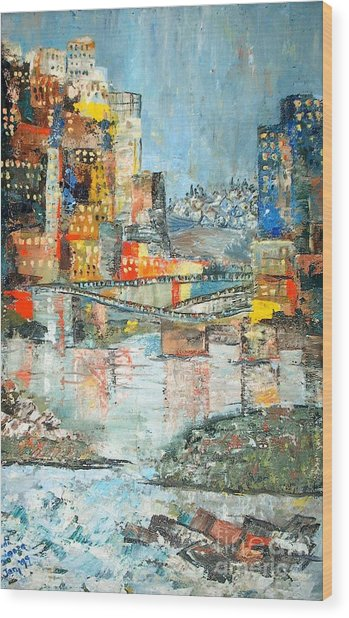City By The River - Sold Wood Print by Judith Espinoza