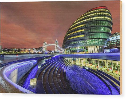 City Hall And Tower Bridge At Night Wood Print by Joe Daniel Price
