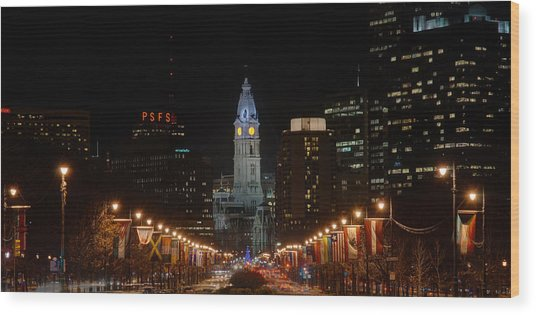 Wood Print featuring the photograph City Hall At Night by Jennifer Ancker