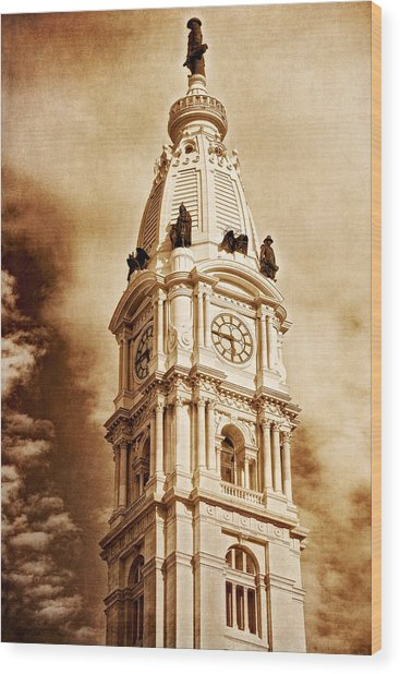 Tower Of City Hall - Downtown Philadelphia - One Penn Square Wood Print