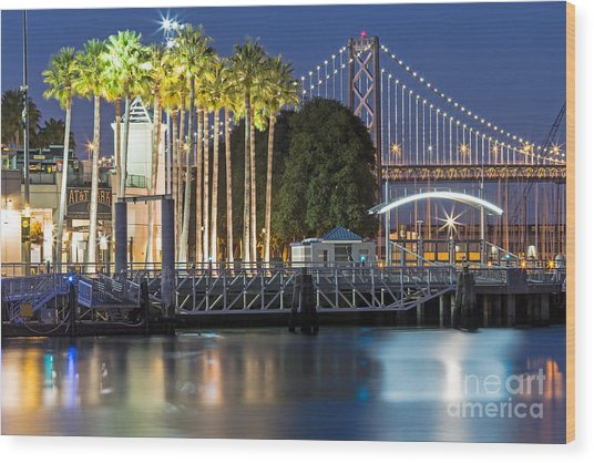 City Lights On Mission Bay Wood Print