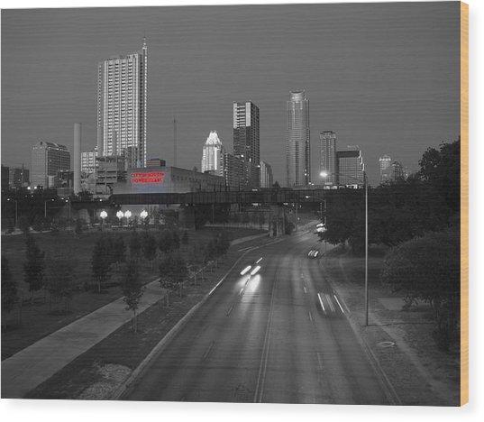 City Of Austin Power Plant Wood Print