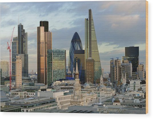City Of London Brand New Skyline 2014 Wood Print by Vladimir Zakharov