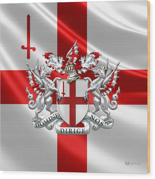 City Of London - Coat Of Arms Over Flag  Wood Print