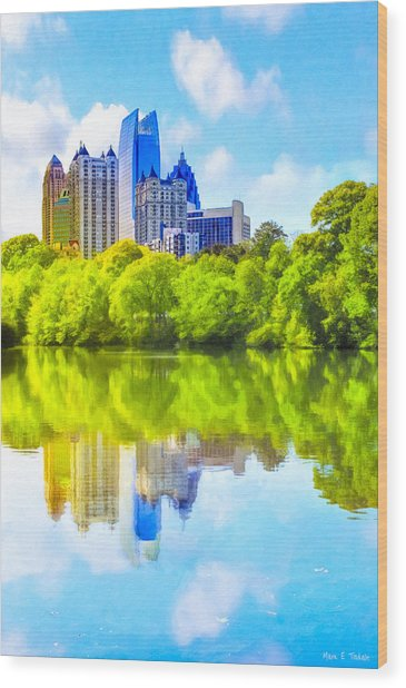 Wood Print featuring the photograph City Of Tomorrow - Atlanta Midtown Skyline by Mark E Tisdale