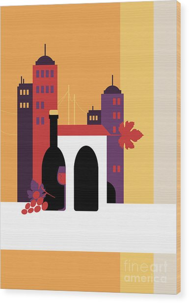 City Of Wine Wood Print