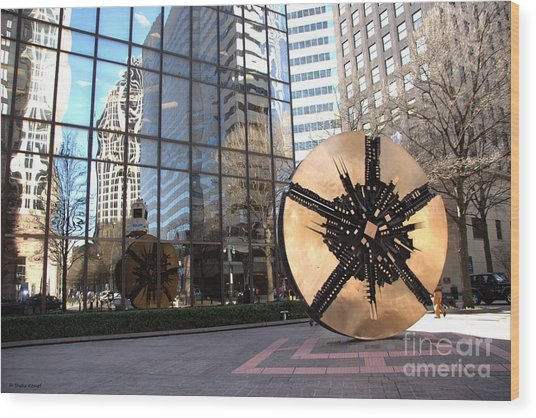 City Reflections - Charlotte Nc Wood Print