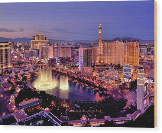 City Skyline At Night With Bellagio Wood Print by Rebeccaang
