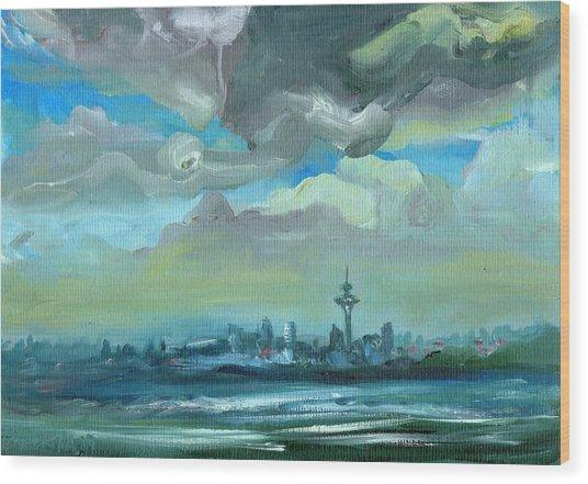 City Skyline Impressionist Painting Wood Print