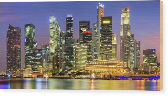 City Skyline - Singapore At Dusk 35mpix Wood Print by Hadynyah