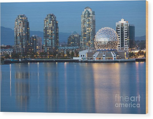 City Skyline -vancouver B.c. Wood Print