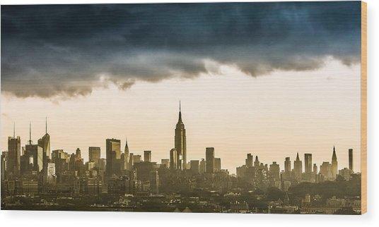 City Storm Wood Print