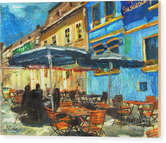 City Street Cafe Wood Print