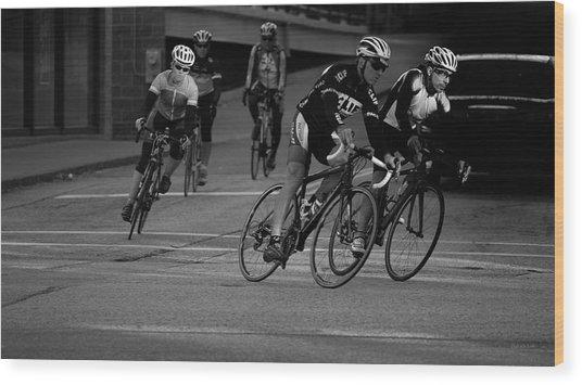 City Street Cycling Wood Print