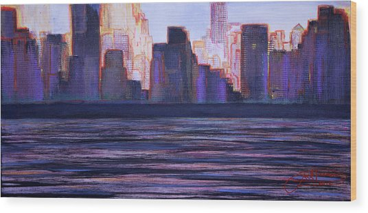 City Sunset Wood Print
