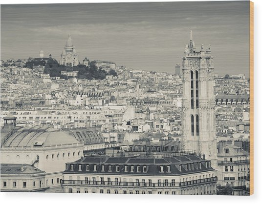 City With St. Jacques Tower Wood Print