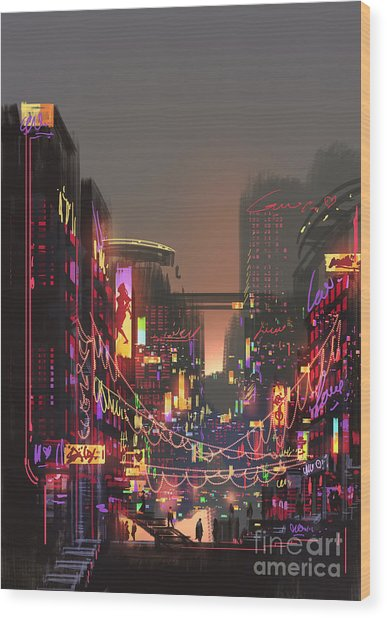 Cityscape Digital Painting Of Building Wood Print