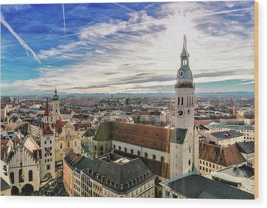 Cityscape Of Munich Wood Print by Michael Fellner