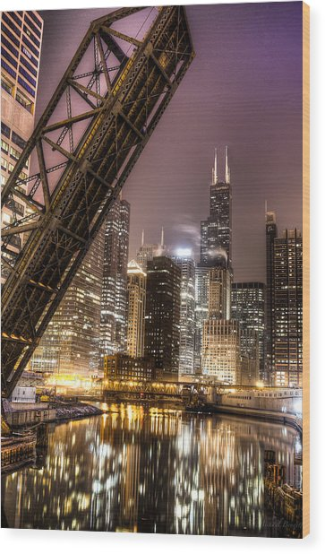 Cityscape Reflection In Chicago River March 2014 Wood Print by Michael  Bennett