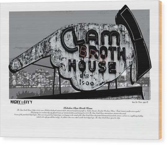 Clam Broth House Sign Wood Print