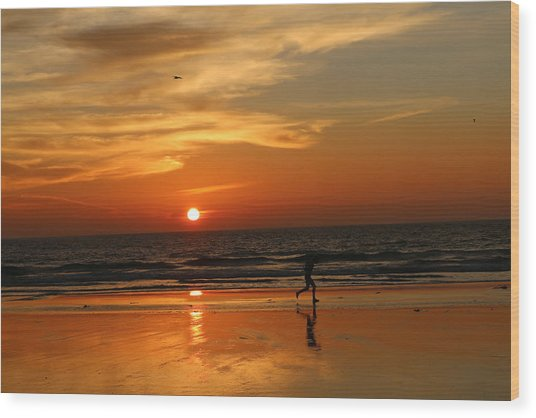 Clam Digging At Sunset - 3 Wood Print