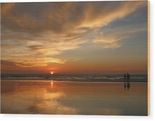 Clam Digging At Sunset - 4 Wood Print