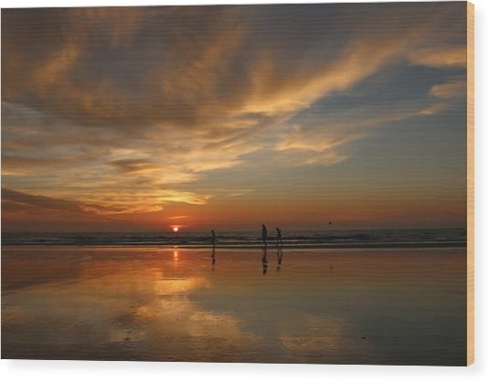 Clam Digging At Sunset -1  Wood Print