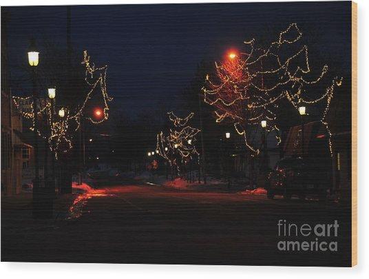Clare Michigan At Christmas 12 Wood Print