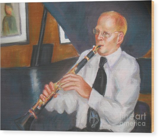 Clarinet At Palm Court Wood Print