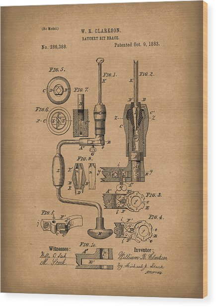 Clarkson Bit Brace 1883 Patent Art Brown Wood Print