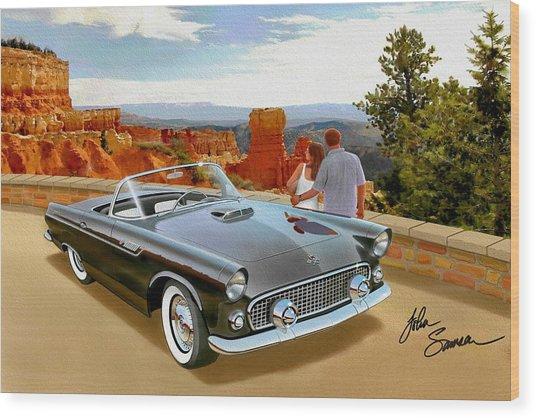 Classic 1955 Thunderbird At Bryce Canyon Black  Wood Print