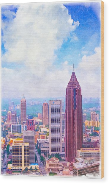Wood Print featuring the photograph Classic Atlanta Midtown Skyline by Mark E Tisdale